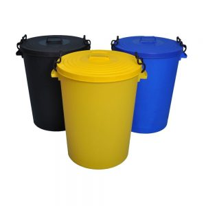 1 x 100 Litre Plastic Drum and Lid Yellow