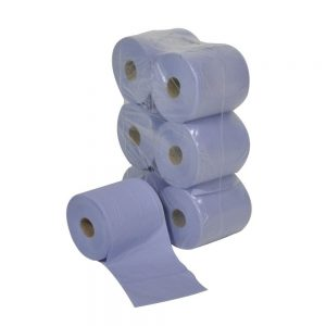 6 Centre-feed roll, 2 ply, blue (20cm x 150m)